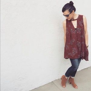 FREE PEOPLE Tree Red Floral Sleeveless Swing Dress